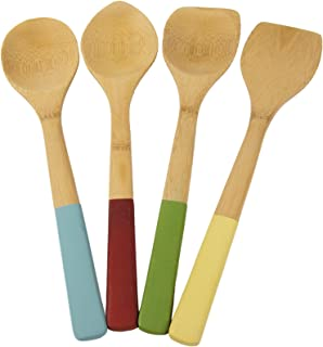 Architec Bamboo Kitchen Tools with Color Handles, Set of 4, Light