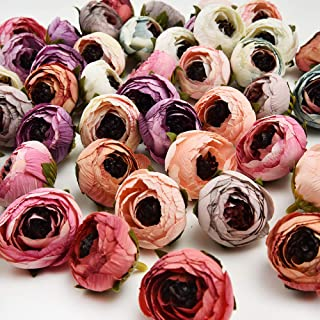 Artificial Flowers in Bulk Wholesale Daisy Mini Artificial Silk Rose Flowers Heads DIY Scrapbooking Fake Flower Kiss Ball for Wedding Decorative 25pcs 3cm(Multicolor)