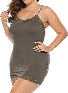 44b444487 In voland Women s Plus Size Modal Spaghetti Strap Full Cami Slip Sexy V-Neck
