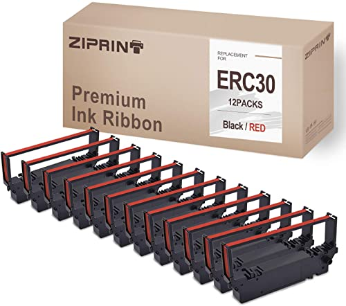 lowest 12-Pack ERC30 ERC 30 34 38 Ribbons BR discount Compatible outlet online sale with Ribbon Cartridge for ERC38 ERC34 ERC30 (Black Red) online sale
