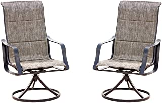 Top Space Swivel Patio Chairs Bistro Bar Stools Outdoor Furniture with All Weather Metal Frame (2 Bar Chairs,Grey)