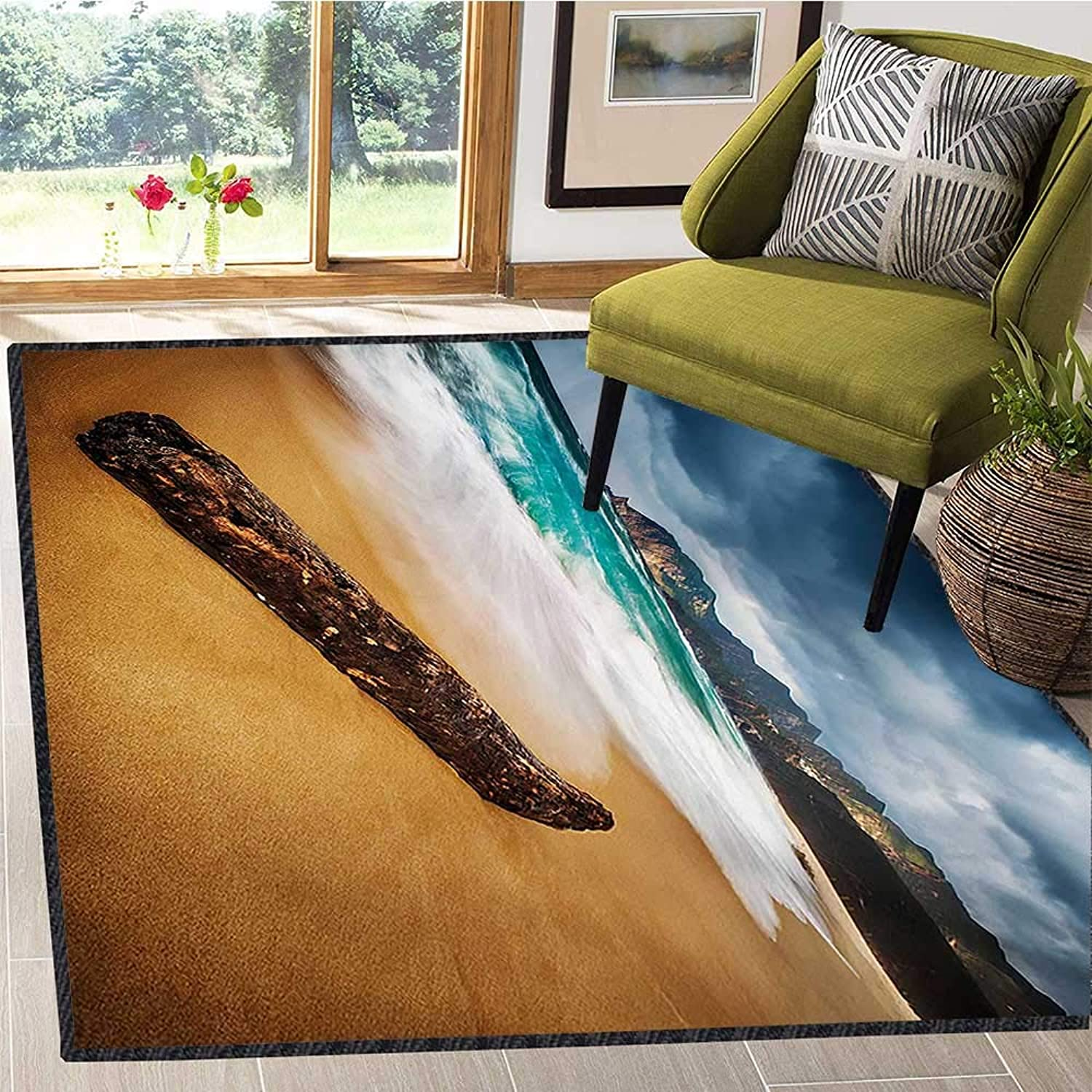 Driftwood, Floor Mat for Kids, Seascape Theme with Old Piece of Tree in The Beach with Stormy Weather Print, Door Mats for Inside Non Slip Backing 5x7 Ft bluee and Ginger