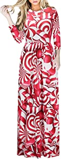 Sumtory Christmas Patterns 3D Digital Print 3/4 Sleeve Maxi Dresses for Women O-Neck Casual Floor Length Dress with Pocket