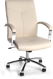Essentials High Back Leather Executive Chair - Ergonomic Conference Chair with Padded Arms, Cream (E1003-CRM)