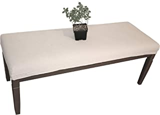 Waterproof Dining Bench Cover Protector - Perfect for Kids, Elderly, Restaurants, Clinics, Party, Home - Machine Washable, Stretchy, Snugly Fit, Premium Quality, Clean The Mess Easily (49x17, Beige)