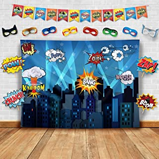 Superhero Cityscape Photography Backdrop, Studio Props, Flags and Mask DIY Kit. Great as Super Hero City Photo Booth Background - Birthday Party and Event Decorations