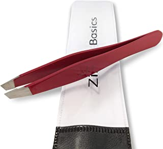 Tweezers – Surgical Grade Stainless Steel - Slant Tip for Expert Eyebrow Shaping and Facial Hair Removal – with Bonus Protective Pouch - Best Tool for Men and Women (Ruby Red)