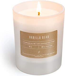 Soy Candle Strong Scented Candles - Aromatherapy Candles Long Lasting Candles White Frosted Glass Jar Candle ( Vanilla Bean )