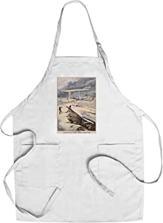 En Amerique - Aeroplane a Kitty - Hawk Vintage Poster (artist: Carrey) France c. 1903 (Cotton/Polyester Chef's Apron)