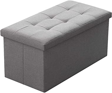 Camabel Folding Storage Ottoman Bench Cube 30 inch Fabric Storage Chest with Memory Foam Seat Footrest Padded Upholstered Sto