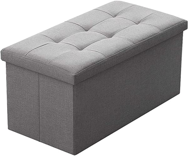 Camabel Folding Storage Ottoman Bench Cube 30 Inch Fabric Storage Chest With Memory Foam Seat Footrest Padded Upholstered Stool Seat For Bedroom Chest Box Coffee Table Grey