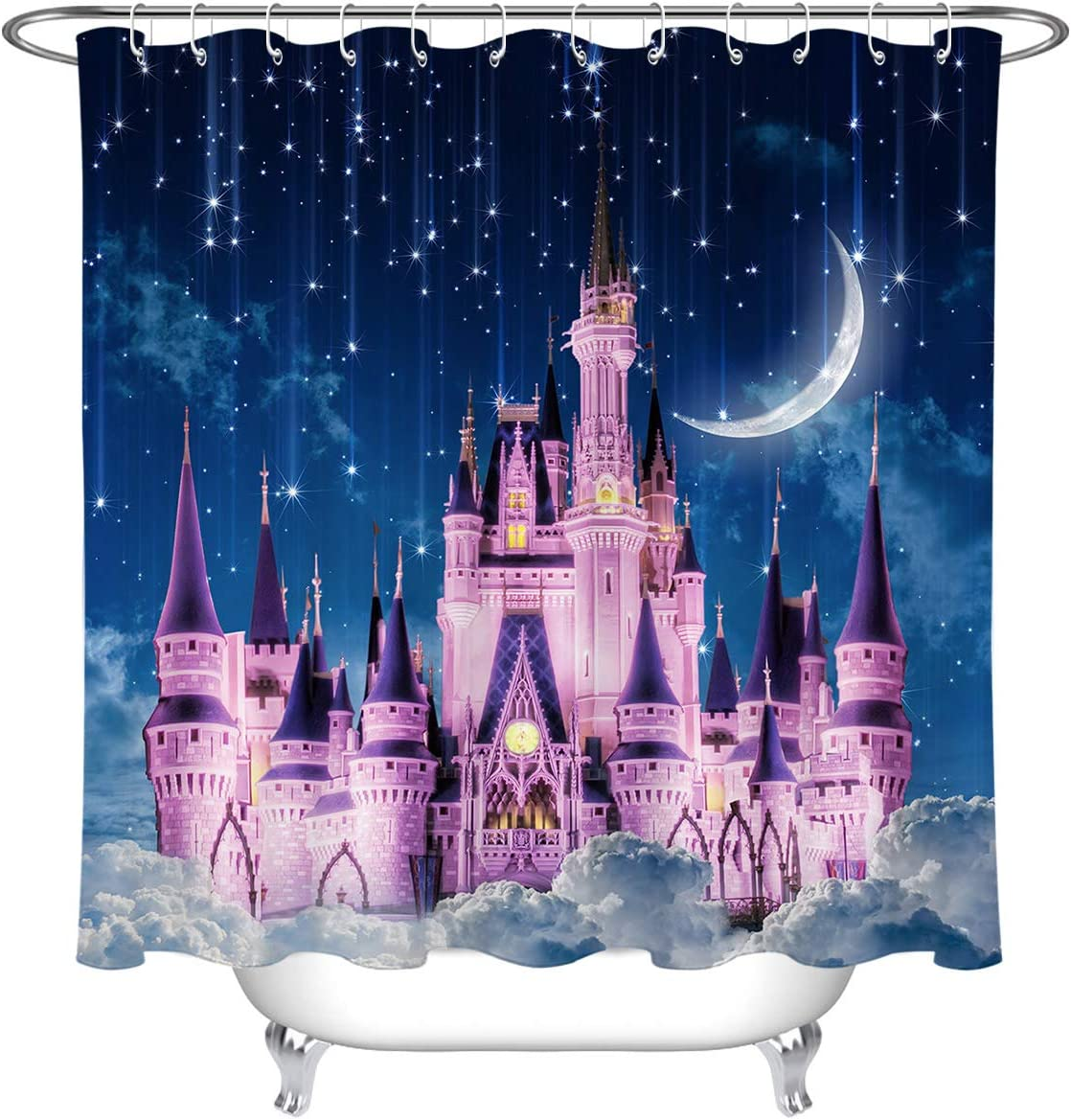 72W x 72H Inches Shower Curtain Sets HVEST Pink Castle Shower Curtain Dreamlike Magic Castle in Starry Sky and Moon Bath Curtain Kids Princess Fabric Fairy Tale Shower Curtains for Bathroom Decor