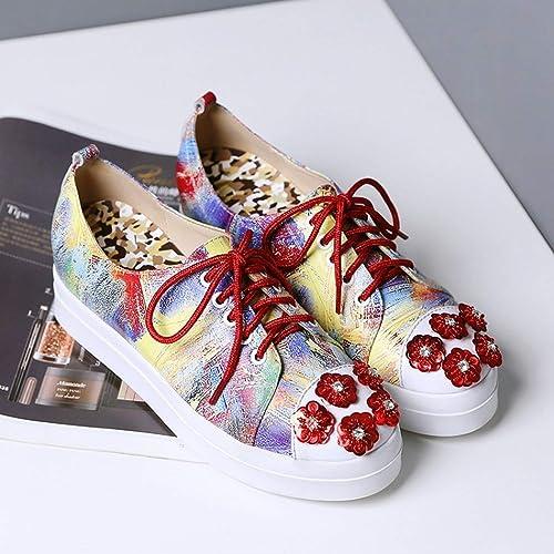 Fuxitoggo zapatos de zapatos de Lucha Flor Diamantes para mujeres zapatos Individuales con Cabeza rojoonda con zapatos Planos (Color   rojo, tamaño   38)