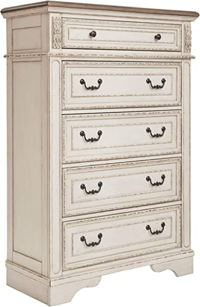 Signature Design By Ashley B743 46 Realyn Chest Of Drawers Chipped White