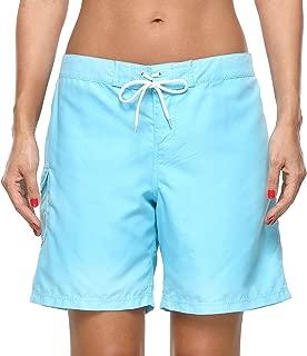 ATTRACO Women Board Shorts Swim Trunks Drawstring Tummy Control High Waist Swim Bottoms