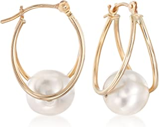 Ross-Simons 8-9mm Cultured Pearl Double Hoop Earrings in 14kt Yellow Gold