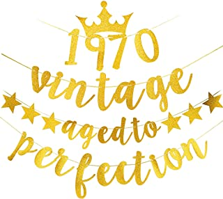 Yoaokiy Glitter 50th Birthday Banner Decorations - Gold Vintage 1970 Aged to Perfection Banner - Fifty Birthday Party Decorations 50th Anniversary Party Supplies