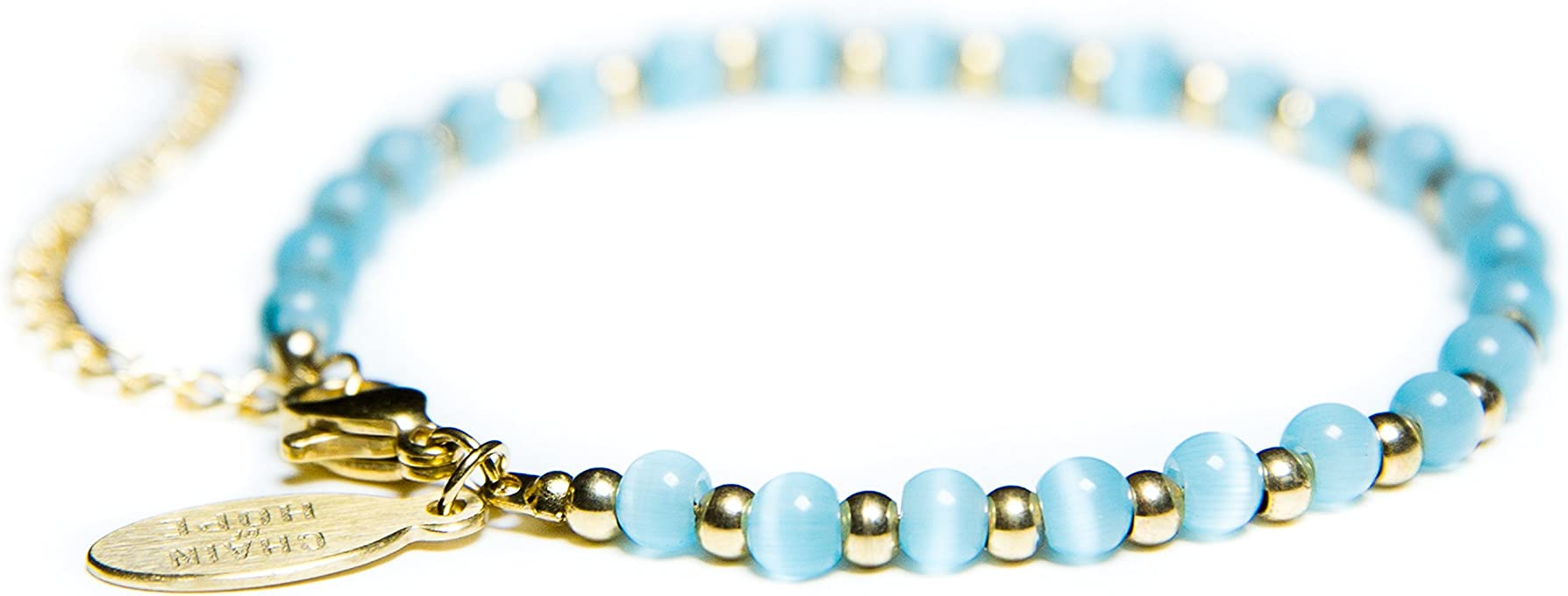 Beaded Bracelets for Women - Celebrity Endorsed 14k Gold Bracelets Turquoise Bracelet Bracelet Aqua Cat Eye Charm Fashionable Handmade Crystal Jewelry for Giving Back