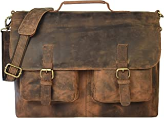distressed brown leather messenger bag