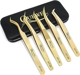 Volume Eyelash Extensions Tweezers Set 5 PCS,Stainless Steel Lash Tweezers Curved Precision Tweezers for Eyelash Extension...