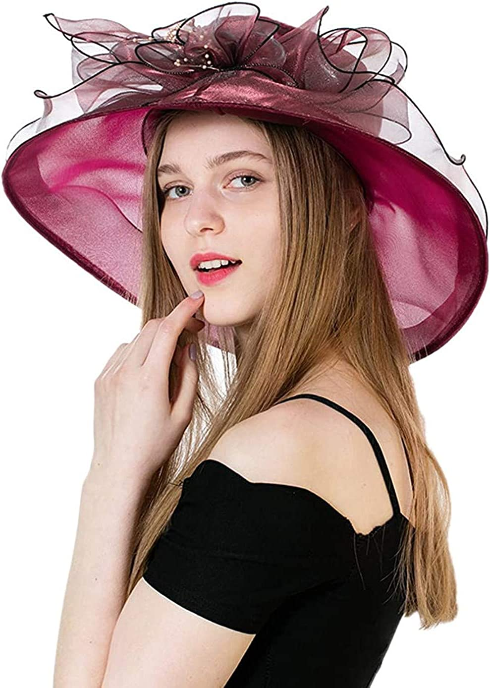 Women's Organza Church Kentucky Derby Sun Hat Organza Tea Party Fancy Wedding Hat