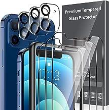 LK 6 Pièces Verre Trempé Compatible avec iPhone 12 (6.1 Pouce),Contenir 3 Pièces Protection écran et 3 Pièces Caméra Arrière Protecteur,Double Protection,Vitre Protection