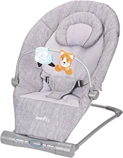 Evenflo Lyric Musical Bouncer, 2-Speed Vibration Mode, 3-Position Recline, Bluetooth Speaker, Flat-Folding, Easy to Clean, 3-Point Harness, Removable Toy Bar, Infant Headrest, Gray Melange