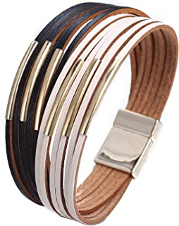 17mile Multi-Layer Leather Bracelet - Braided Wrap Cuff...