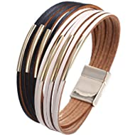17mile Multi-Layer Leather Bracelet - Braided Wrap Cuff Bangle - with Alloy Magnetic Clasp...