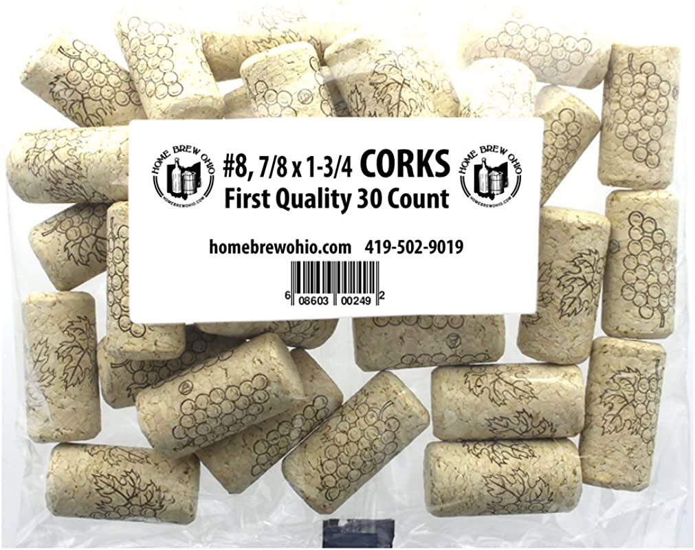Home Brew Ohio 8 Straight Corks 7 8 X 1 3 4 Pack Of 30