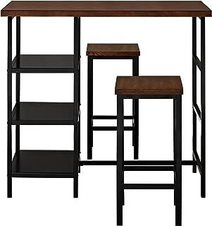 Dorel Living Cosmo 3-Piece Metal Pub Set With Wood Top, Dark Mahogany
