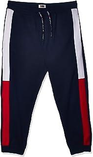 سراويل للرجال بتصميم جاكار مع شعار تومي جينز مطبوع مع علم العلامة التجارية من تومي هيلفجر، لون ازرق، مقاس 2XL