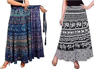 outlook enterprises Women's Cotton Wrap Around Skirts Combo (Multicolour, Free Size) Combo of 2