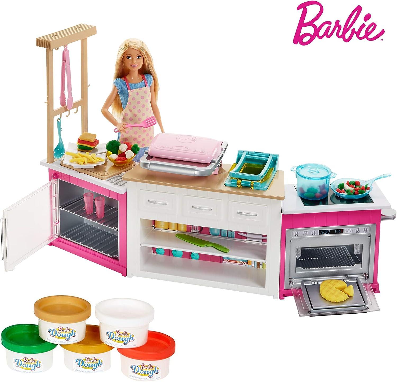 Barbie FRH73 - Cooking und Baking Deluxe Küche Spielset und Puppe, mit Zubehr und Spielknete, Mdchen Spielzeug ab 4 Jahren
