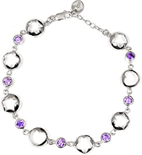 Purple Cubic Zirconia 2.80 Ct Round Brilliant 925 Sterling Silver Chain Bracelet Mother's Day Presents By Orchid Jewelry