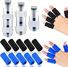 3 Pieces Finger Splints Metal Finger Support Finger Stabilizer in 3 Sizes and 10 Pieces Finger Sleeves Protectors Thumb Br...