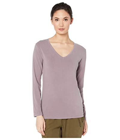 Majestic Filatures Hand Dyed Long Sleeve V-Neck Tee (Bruyere HD) Women