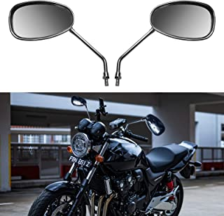 Enoch Universal Motorcycle Mirrors Motorcycle Accessories Rearview Side Mirror 8mm/10mm Adapter Compatible with Honda Kawasaki Suzuki Cruiser Scooter (Chrome)