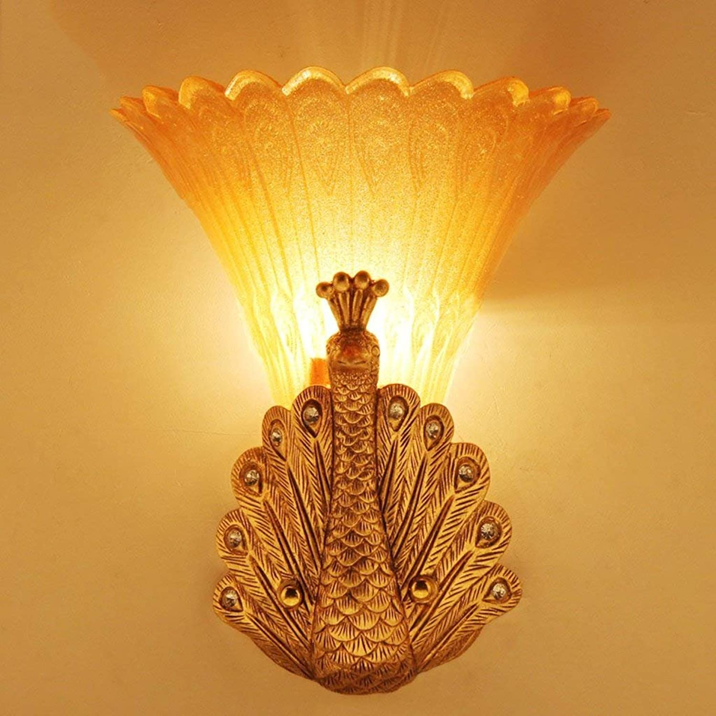 LQB Wandleuchte Europäischen Europäischen Europäischen Stil Retro Peacock Wandleuchte Bar Dekoration Wandleuchte Wohnzimmer Nachttischlampe Glas Lampe B07G7NSRBN | Lebhaft und liebenswert  db0cc1