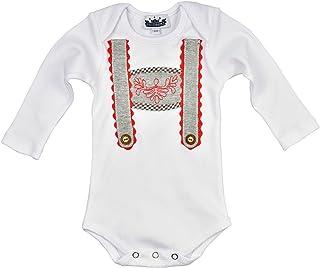 Body per neonato a maniche lunghe azzurro monello e Pretzel con applicazione bretelle in diverse taglie grazioso look tradizionale
