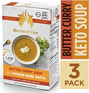 Keto Soup with Bone Broth by Kettle and Fire, Butter Curry, Pack of 3, Organic Vegetables, Gluten Free, Paleo Friendly, Collagen Soup on the Go, 8g of Protein, 16.9 fl oz