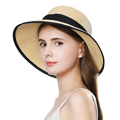 Ladies Summer Sun Hat Women Floppy Panama Straw Beach Hats Foldable Wide  Brim Fedora - UPF c5d35885b36