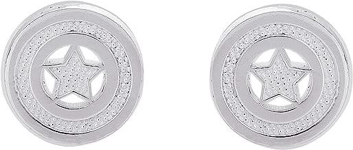 Marvel Offically Licensed Jewelry for Women and Girls Jewelry for Women and Girls, Sterling Silver Captain America Logo Stud Earrings