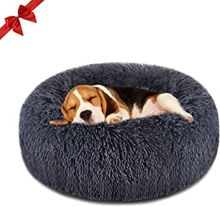 Focuspet Dog Bed Cat Bed Donut, Pet Bed Faux Fur Cuddler...