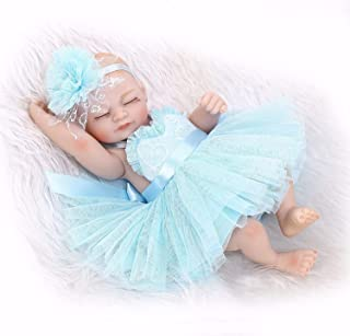 SYJ Toy Lovely Reborn Baby Doll Soft Vinyl Silicone Full Body Girl Eyes Closed Preemie Tiny New Born Baby Dolls Blue Dress
