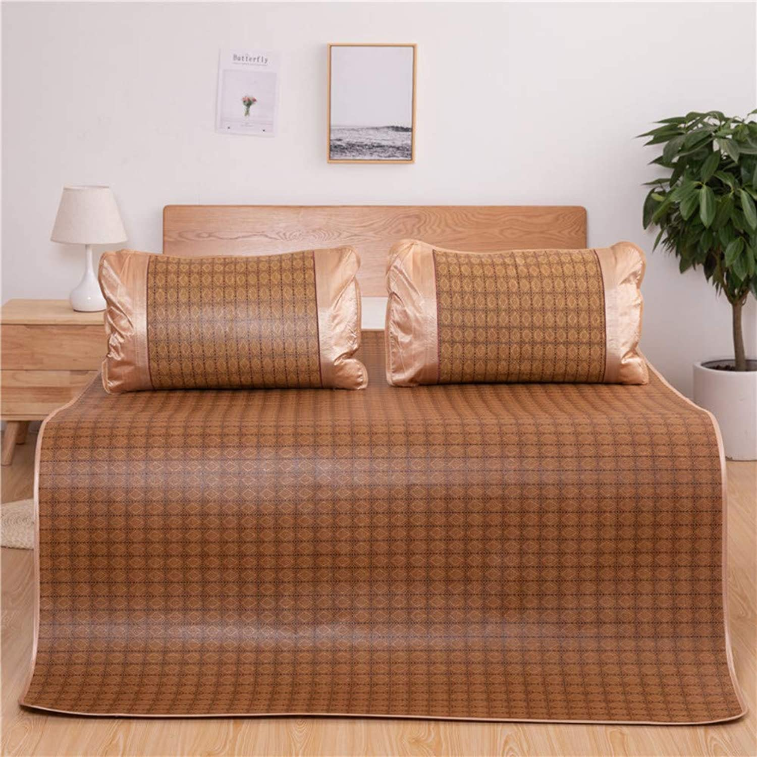Cooling Summer Sleeping Mat, Rattan Mat, Foldable Tatami Mattress Durable Skin-Friendly Air Conditioning Mat Three-Piece-b 90x200cm(35x79inch)