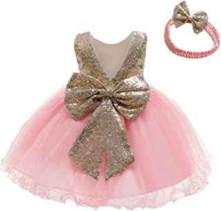 12M-6Y Baby Dress Sequins Bowknot Flower Girls Lace Wedding Pageant Tutu Gown Dresses with Headwear