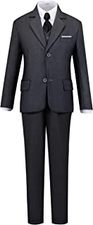 Boy's Silm Fit Formal Suits 5 Piece with Shirt and Vest