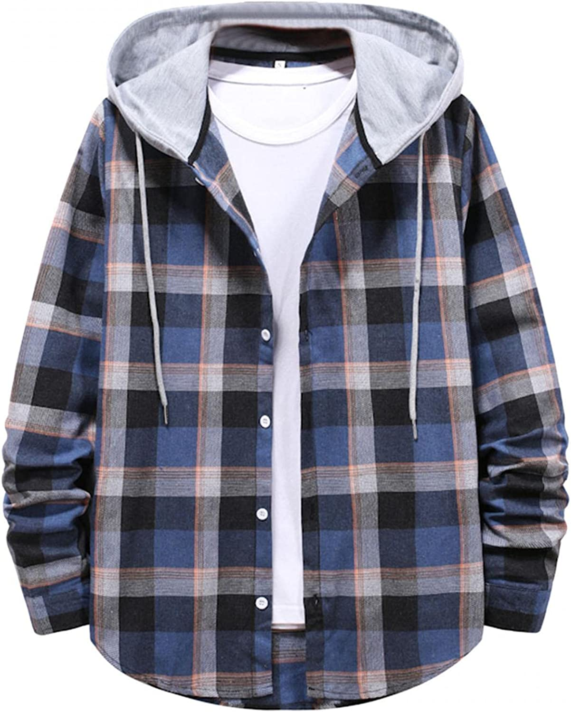 JSPOYOU Mens Hooded Shirts Jacket Classic Long Sleeve Button Down Sweatshirts Lightweight Casual Overshirts Coats