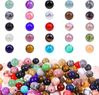 Paxcoo 200pcs Natural Stone Beads Gemstone Beads with Assorted Colors for Jewelry Making, Necklace and Bracelet